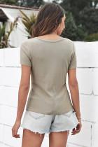 گردن گردنبند خاکی دکمه دار آستین کوتاه روبان دار دنده دار