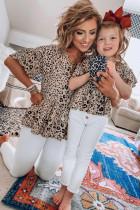 Rodzinny top z falbankami w panterkę, pasująca tunika dla mamy