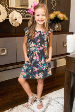 لباس گل آستین روفلی دختران کوچک خاکستری با جیب
