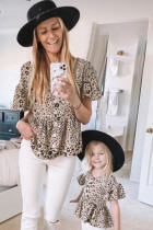 Leopard Button Front Ruffled Matching Kid Tunic Top