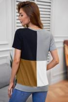 Barna Colorblock póló résekkel
