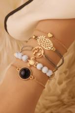 5pcs coeur ananas tortue perles ensemble de bracelets creux géométriques