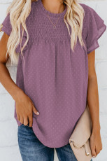 Lilla Tiered Sleeve Frilled Neck Dotted Top