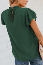 آستین لایه ای سبز و گردن خلال دار