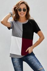Borvörös Colorblock póló hasítékokkal