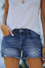 Short en denim déchiré bleu foncé avec poches