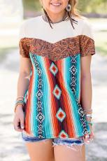 T-shirt à col rond Western Tribal Fashion