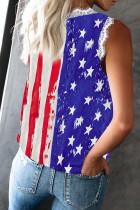 Csíkok Csillag amerikai zászló nyomtatás V nyakú csipke díszdoboz