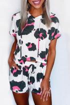 Ensemble de salon à capuche court à manches courtes et short à cordon léopard blanc