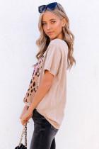 T-shirt graphique MAMA à col rond et léopard carré