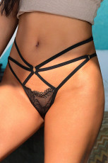 Black Strappy Lace Hollow Out Thong
