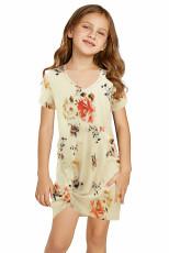 Sárga virágmintás csavar csomó V nyakú lány mini ruhája