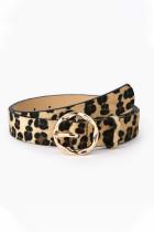 Ceinture large à boucle en similicuir léopard