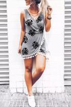 Grå palmeblader Print dusk Wrap V-hals Mini kjole