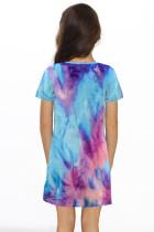 Tie-dye Print Twist Knot V Neck lány mini ruhája