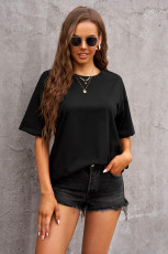 T-shirt oversize noir à col rond
