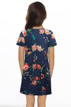 Kék virágmintás csavar csomó V nyakú lány mini ruhája