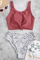 Pink Leopard Print Knot High Waist Bikini Badedrakt