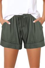 Zöld elasztikus derékhúzó lány nadrág zsebbel