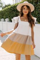 Gul firkantet hals tredobbelt fargeblokk lagdelt Babydoll kjole
