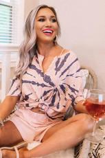 Ensemble de salon en tricot gaufré à imprimé camouflage rose