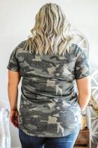 Sequined V Neckline Camo Plus Size póló