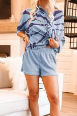Ensemble de salon en tricot gaufré à imprimé camouflage bleu