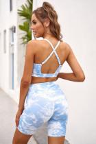 Sky Blue Tie-dye Print Sports BH Shorts Set