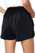 Fekete, rugalmas, derékhúzó lány nadrág zsebbel