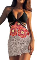 3stk Selvbindende stropp Bikini med leopardblomst Sarong