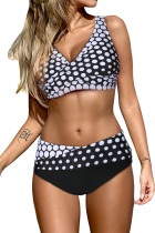 Bikini cache-cœur blanc à col en V et à lacets dans le dos