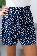 Kék foltos nyomtatású laza alkalmi, magas derékú nadrág