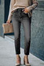 Jean skinny noir taille haute longueur cheville