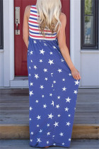 Kék csíkok és csillagok Ujjatlan Maxi ruha zsebbel