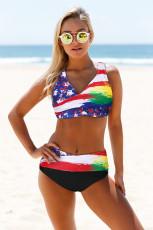 Bikini multicolore tie-dye imprimé drapeau cache-cœur à lacets au dos