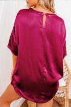 Ensemble lounge t-shirt et short en satin rouge