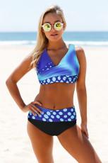 Bikini cache-cœur bleu à col en V et à lacets dans le dos