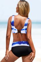 Bikini bleu ciel imprimé tie-dye cache-cœur à lacets au dos