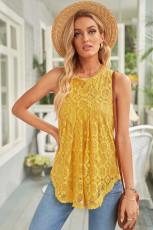 Sarı Dantel Oymalı Kolsuz T-Shirt