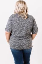 Szürke leopárdmintás plusz méretű felső