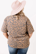 Brun Leopard Print Shift Plus Size Topp