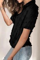 پیراهن آستین کوتاه یقه رو به پایین نقطه دکمه ای سیاه