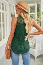 Yeşil Dantel Oymalı Kolsuz T-Shirt