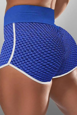 Blå High Waist Honeycomb Contrast Stripes Butt Lifting Yoga Shorts