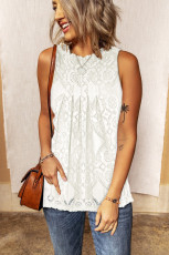 Beyaz Dantel Oymalı Kolsuz T-Shirt