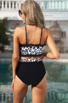 Siyah Fırfırlı Leopar Bandeau Yüksek Bel Bikini
