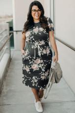 Květinové midi šaty s krátkým rukávem se stahováním v pase plus velikosti