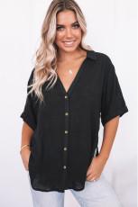 Siyah Bol V Yaka Düğmeli Kısa Kollu Gömlek