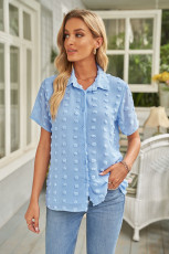 پیراهن آستین کوتاه یقه رو به پایین دکمه ای دکمه ای آبی Sky