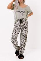 ست لباس خواب شل کمر الاستیک Leopard Print V